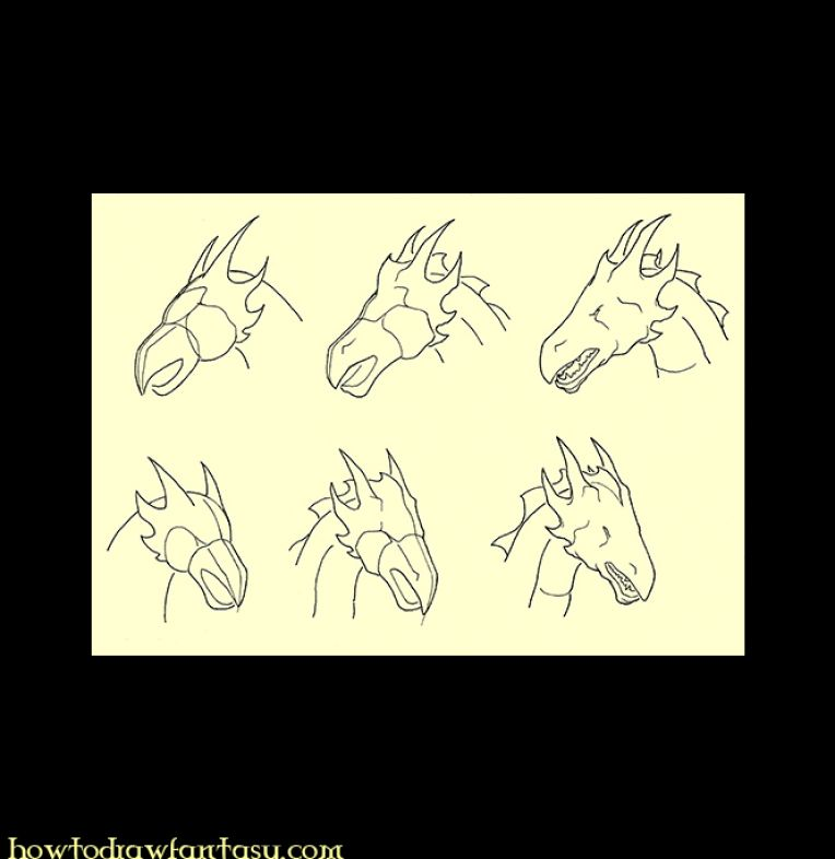 how to draw a japanese dragon head step by step