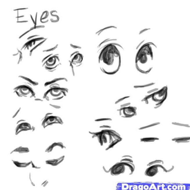 how to draw a face looking down to the side