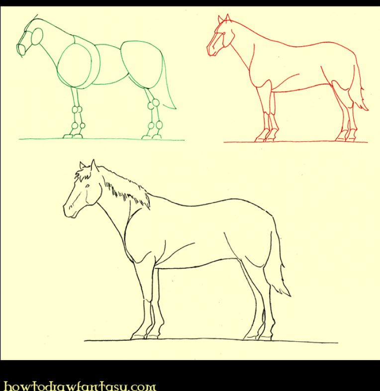how to draw a realistic horse running