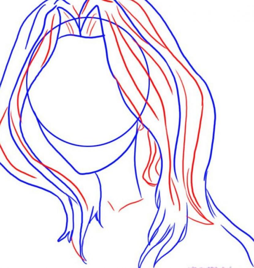 how to draw blue hair