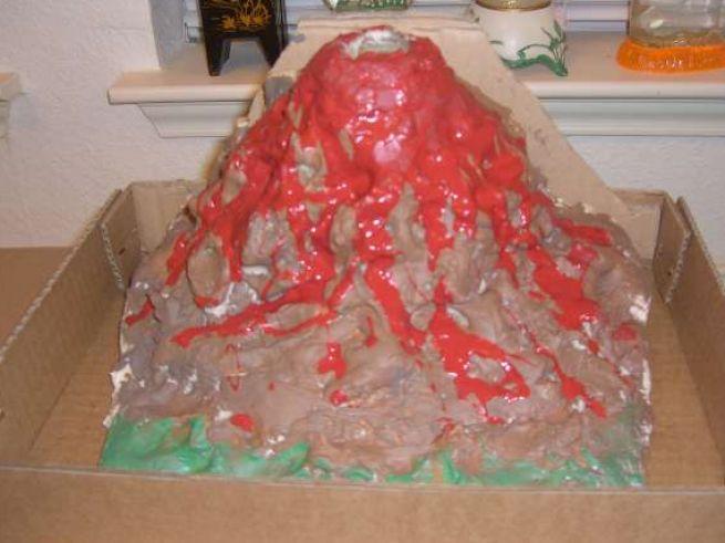 Как сделать вулкан из бумаги