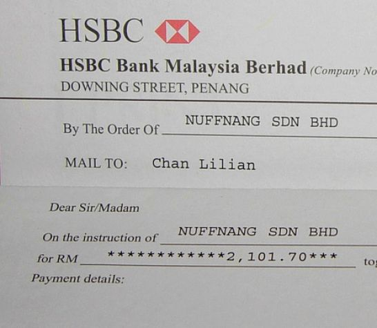 write a cheque hsbc hk